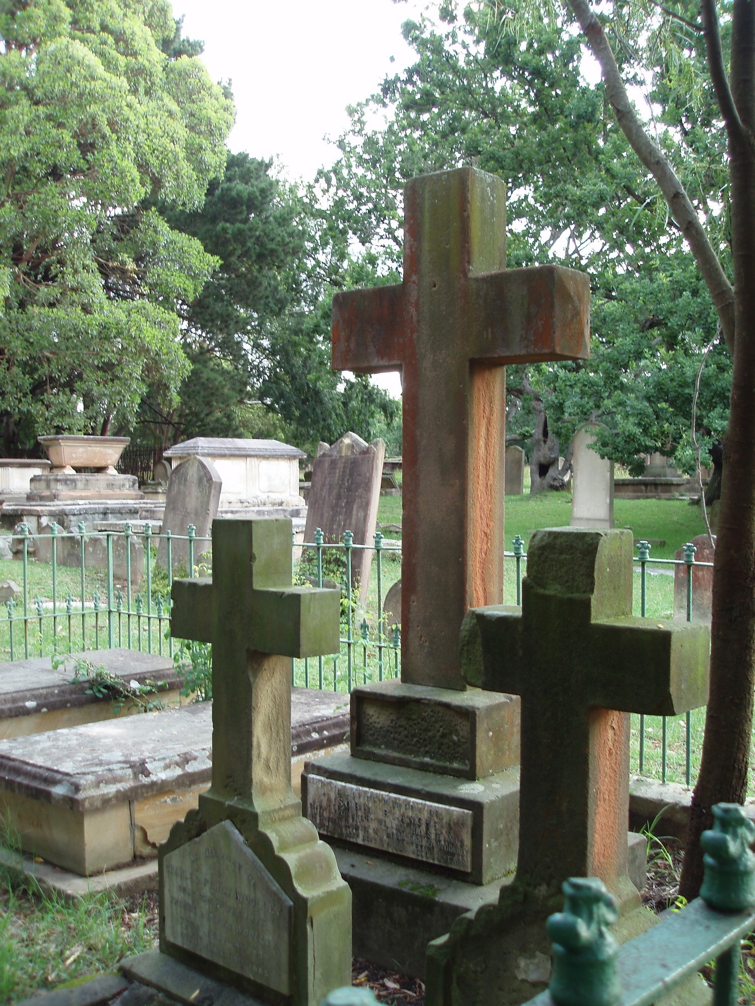 stone crosses in newtown cemetery