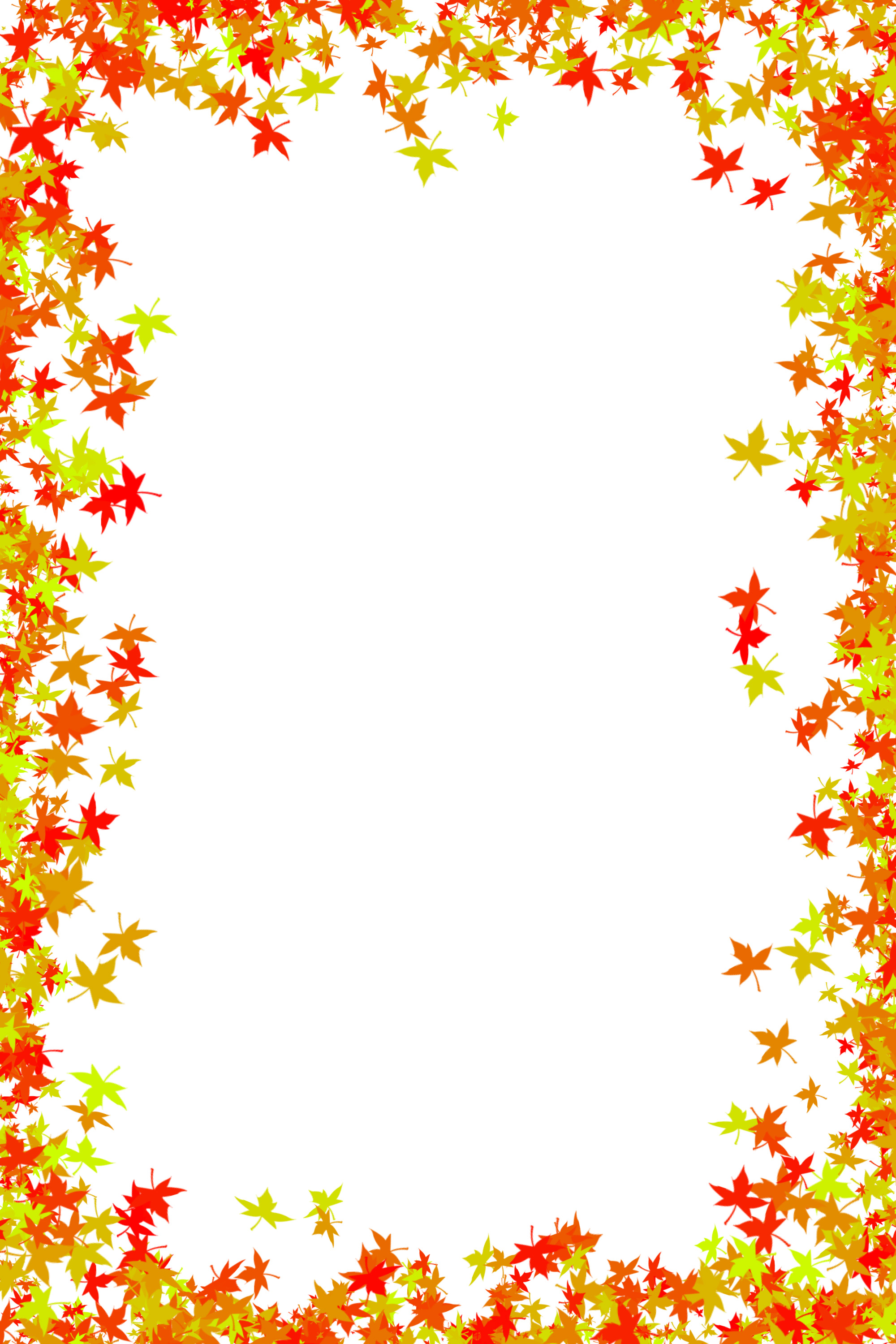 photo frame of maple leaves in red and orange colors