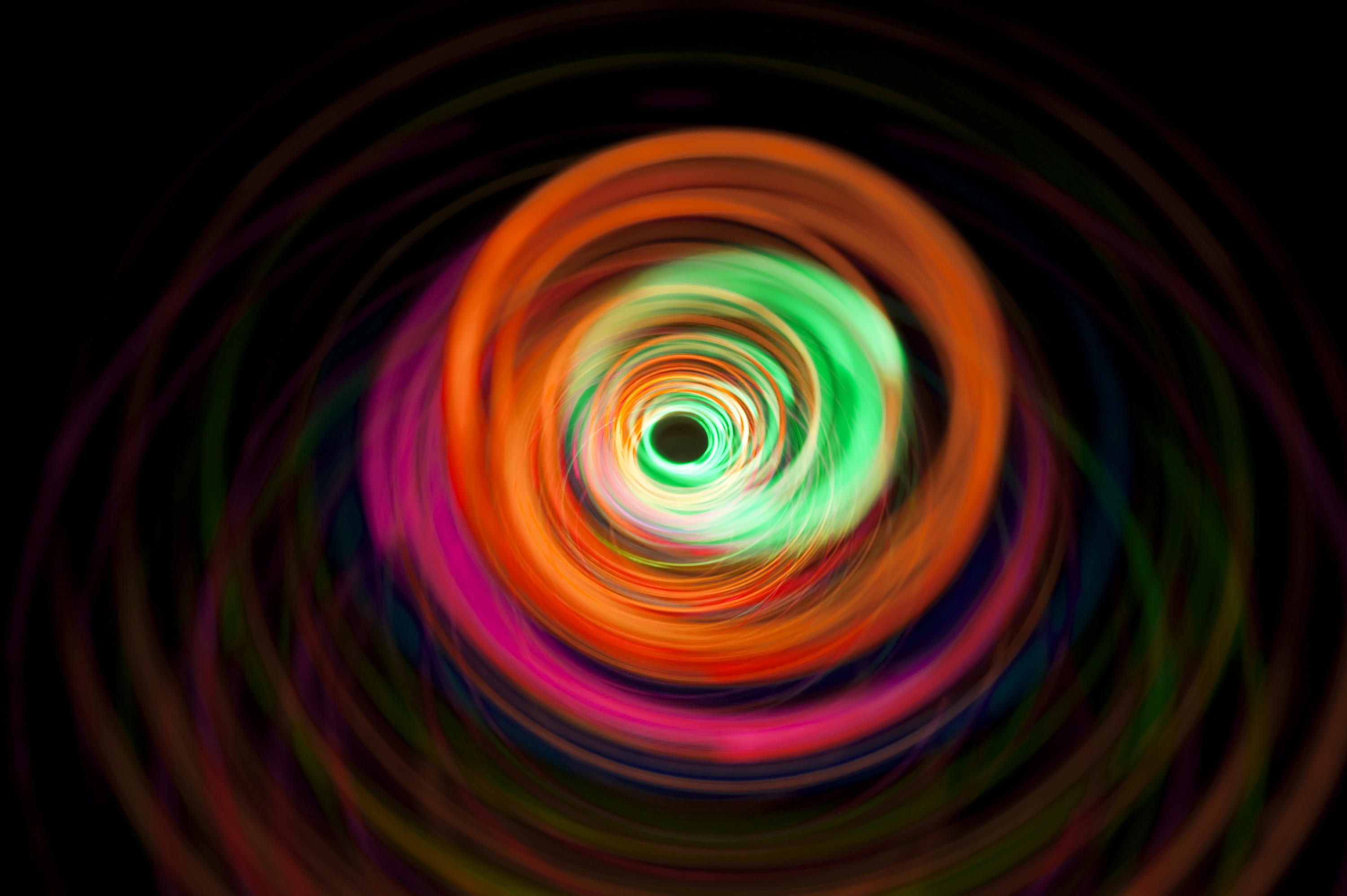 a tunnel of light created with overlapping circles of illumination